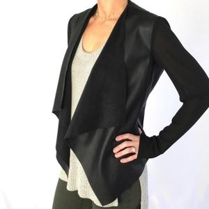 Zara Faux Leather Front Cardigan